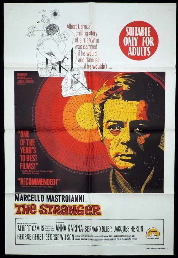 The Stranger (1967 film) THE STRANGER One Sheet Movie Poster Marcello Mastroianni