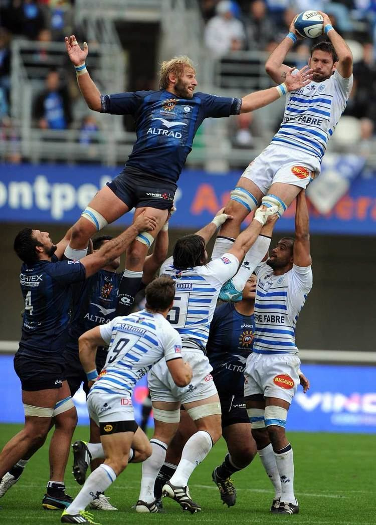Thibaut Privat Castres39 Scott Murray R vies with Montpellier39s Thibaut