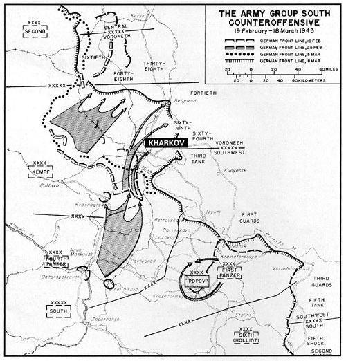 Third Battle of Kharkov Map around Kharkov1943 WW2 Third Battle of Kharkov 1943