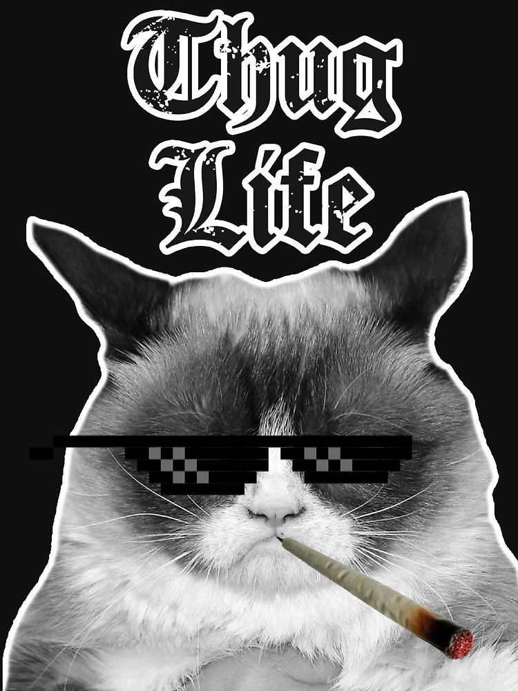 Thug Life Thug Life Catquot Women39s Fitted VNeck TShirts by HeadOut Redbubble
