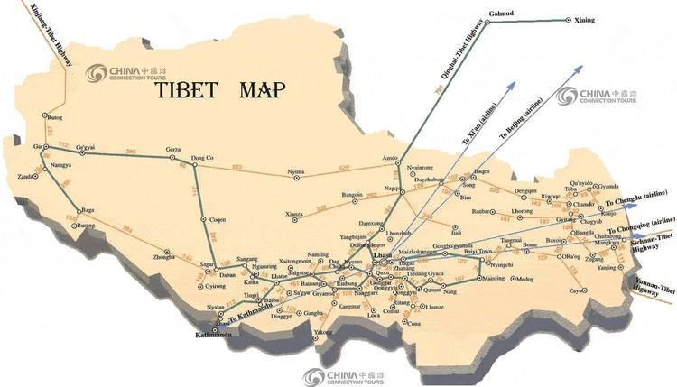 Map of Tibet Autonomous Region China Tibet Maps Tibet Travel Guide