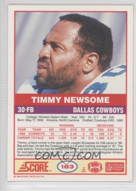 Timmy Newsome 1989 Score 183 Timmy Newsome COMC Card Marketplace
