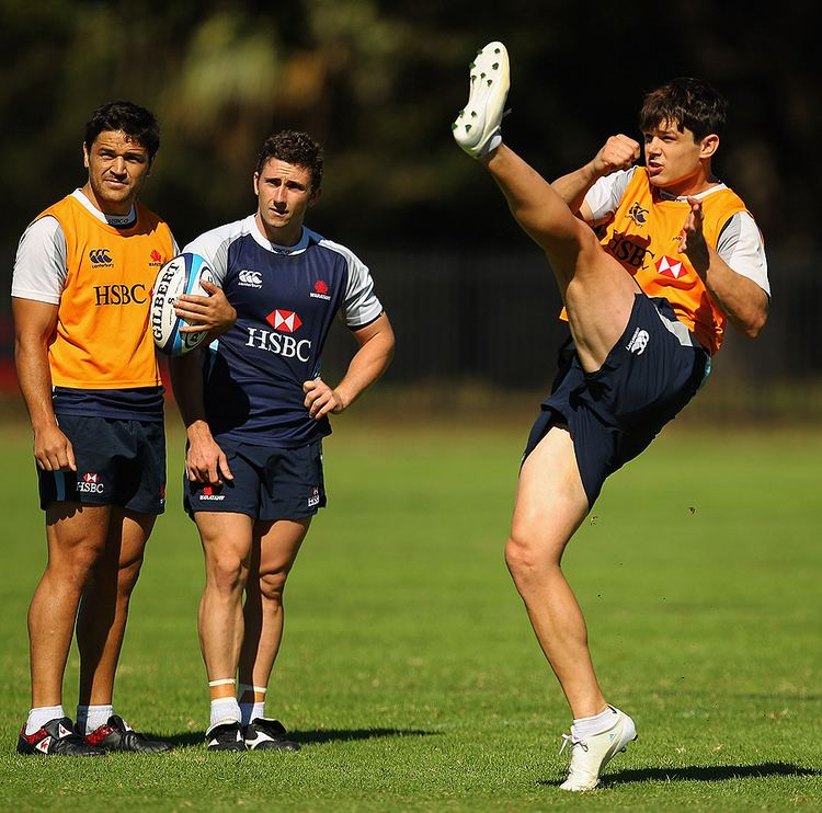 Tom Carter (rugby union) Tom Carter unleashes a kick at Waratahs training Rugby