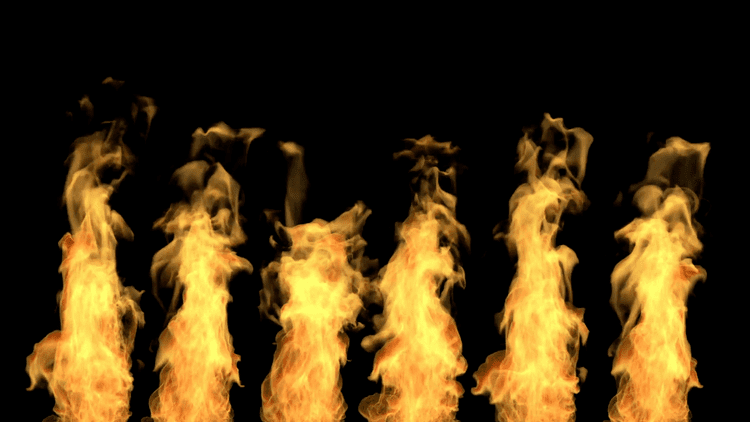 separated tongues of flame fire isolated on black alpha channel
