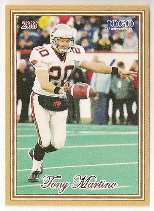 Tony Martino (Canadian football) Tony Martino CFL card 2001 Jogo 233 BC Lions Kent State Golden
