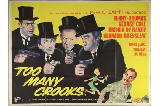 20 British Quad film posters including Too Many Crooks Terry Thomas