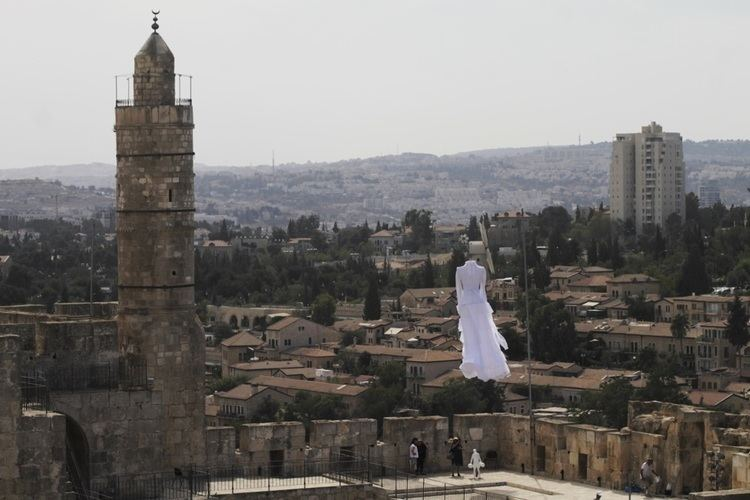 Tower of David What39s that huge white bridal dress floating over the Tower of David