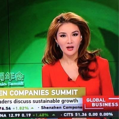 Tracey Chang at work as news anchor