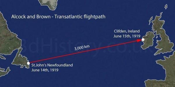 Transatlantic flight of Alcock and Brown Alcock and Browns Transatlantic Flight 3dhistory