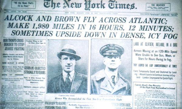 Transatlantic flight of Alcock and Brown Captain John Alcock and Lieutenant Arthur Whitten Brown