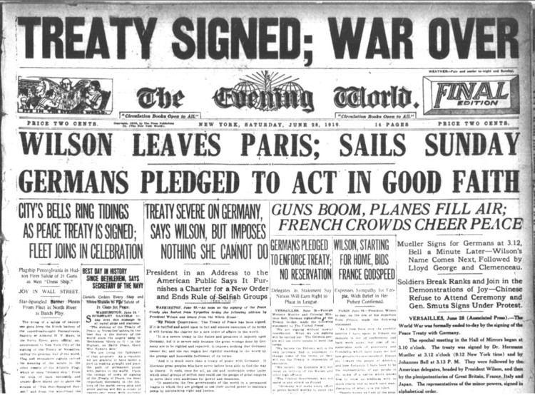 Treaty of Versailles WWI Treaty of Versailles 1919 Create WebQuest