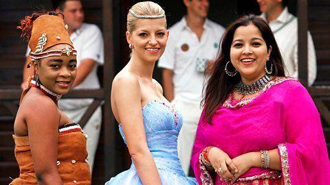 "Princess Xenia Gabriela Florence Sophie Iris, Princess Aaliya Sultana Babi, and Princess Sheillah Cinderella Nvannungi from ""Undercover Princesses"" smiling together"