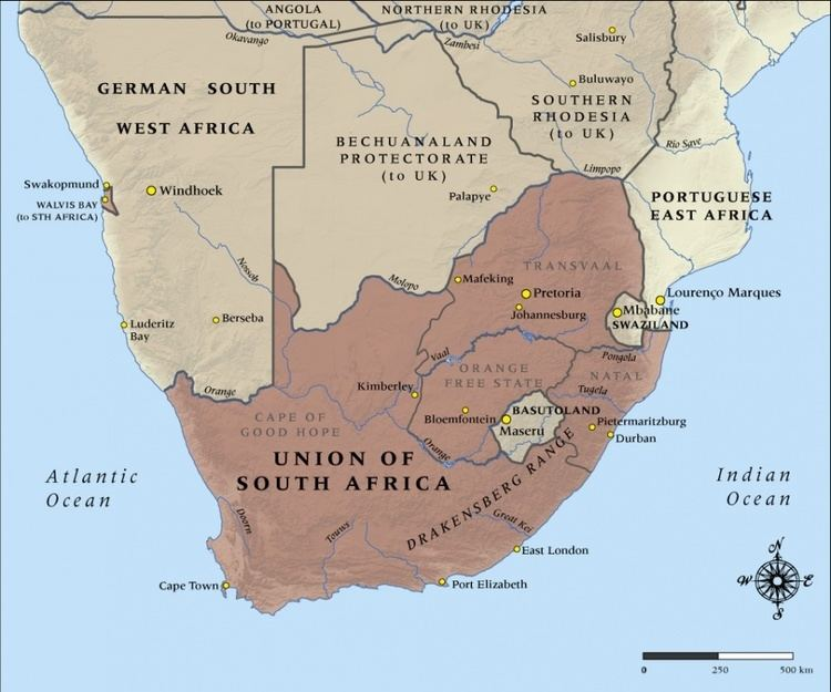 Union of South Africa History This picture shows where the Union of South Africa is which