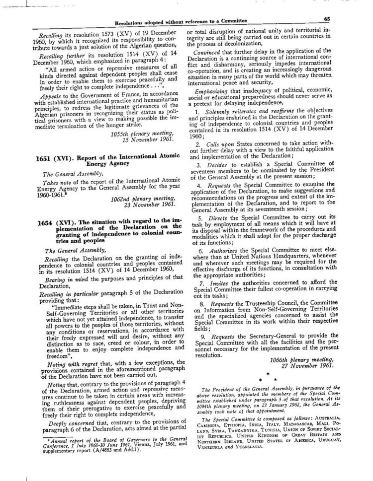 United Nations General Assembly Resolution 1654 (XVI)