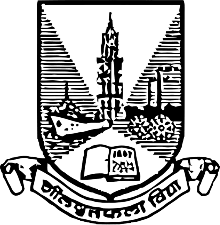 A graphic depicting the official coat of arms of the University of Mumbai