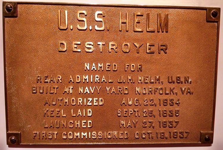 USS Helm (DD-388) Hampton Roads Naval Museum USS Helm DD 388 For the Duration