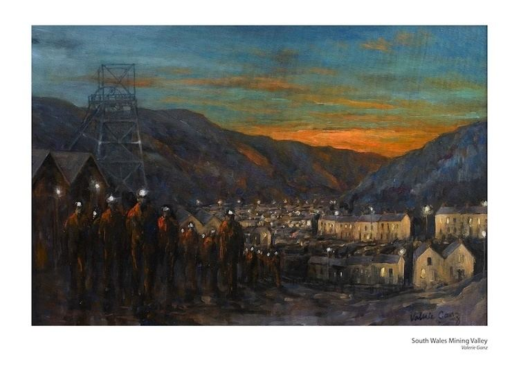 Valerie Ganz Valerie Ganz South Wales Mining Valley Small Print Art Welsh