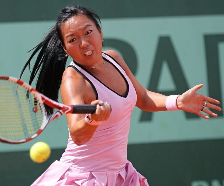 Vania King American Vania King hits a shot during her French Open