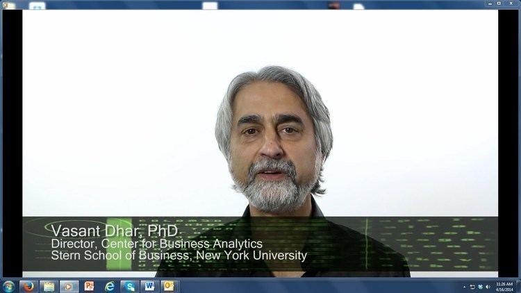 Vasant Dhar EditorinChief Vasant Dhar on Big Data YouTube