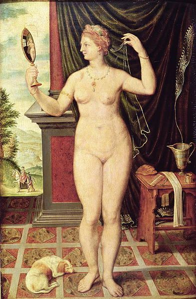 Venus with a Mirror Venus with a Mirror painting Fontainebleau School Oil Painting