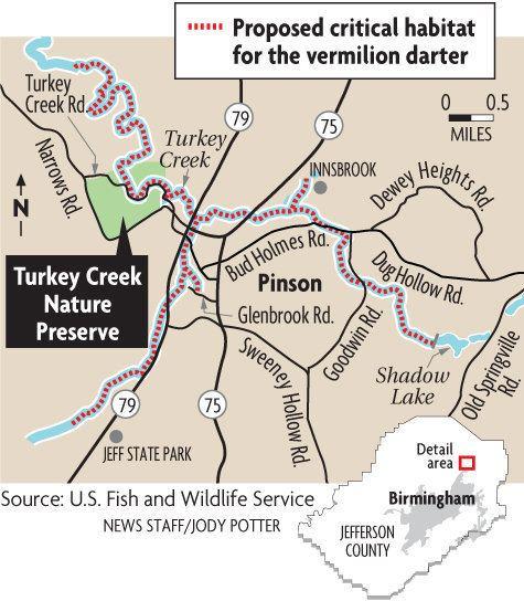 Vermilion darter Habitat for endangered vermilion darter expanded in Jefferson