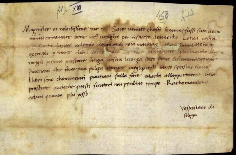 Vespasiano da Bisticci da Bisticci a Cosimo de Medici