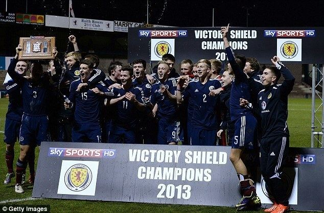 Victory Shield Darren Fletcher congratulates Scotland youngsters after England win