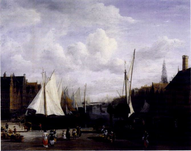 View of the Dam and Damrak at Amsterdam