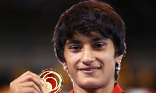 Vinesh Phogat Asian Games 2014 Grappler Vinesh Phogat carries an
