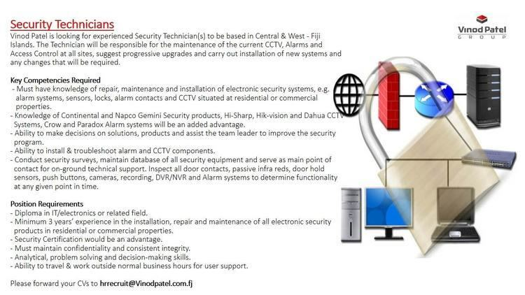 Job post from Vinod Patel they are looking for experienced Security Technician