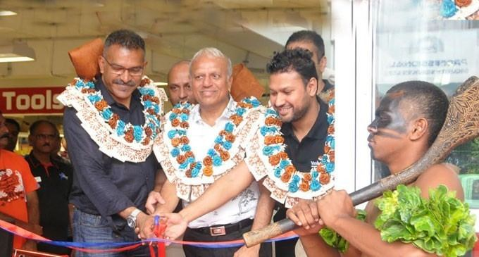 Minister for Industry, Trade and Tourism, Faiyaz Siddiq Koya, Vinod Patel Director Jayant Patel and Vinod Patel and Company Limited chief executive Veeral Patel officially open the Home & Living division in Yasawa Street, Lautoka