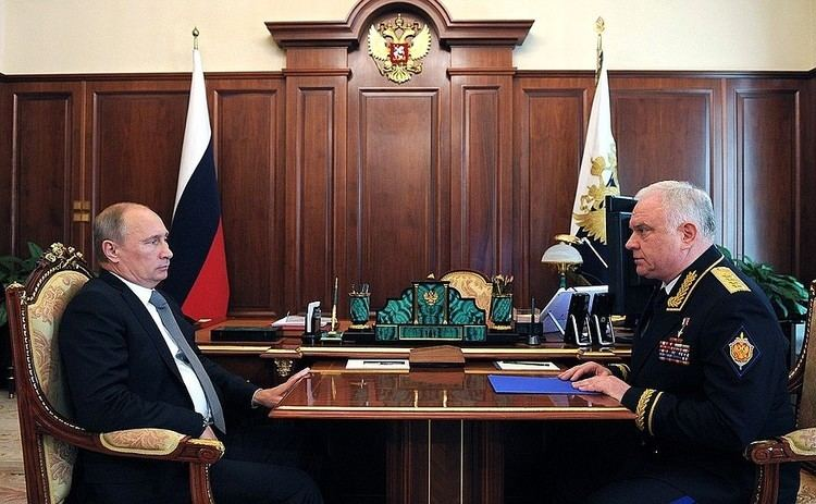 Vladimir Pronichev Meeting with Border Guard Service Director Vladimir Pronichev