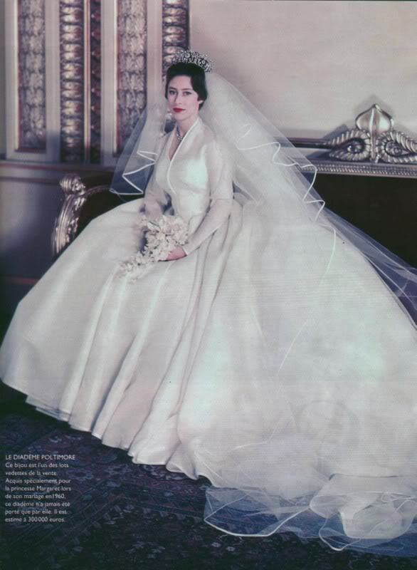 Wedding dress of Princess Margaret Princess Margarets while silk organza wedding dress with a satin