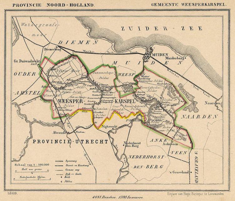 Weesperkarspel Kuyper gemeentekaart Gemeente Weesperkarspel 1869