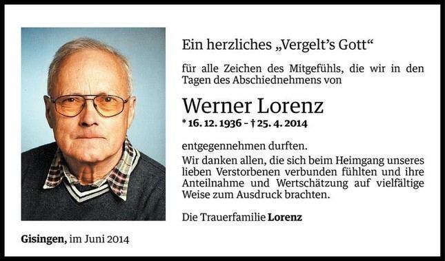 Werner Lorenz Werner Lorenz Danksagung VN Todesanzeigen