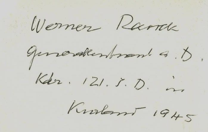 Werner Ranck G 01 P LT GENERAL WERNER RANCK RKT TWICE SIGNED