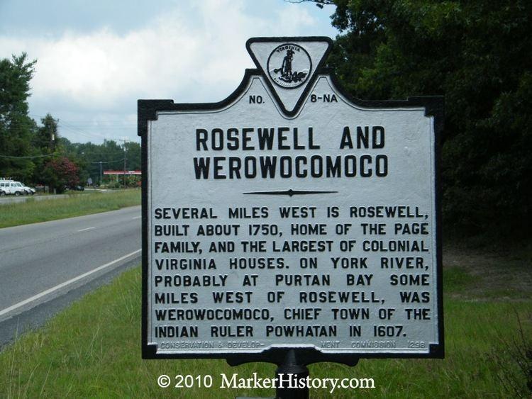Werowocomoco Rosewell and Werowocomoco NA8 Marker History