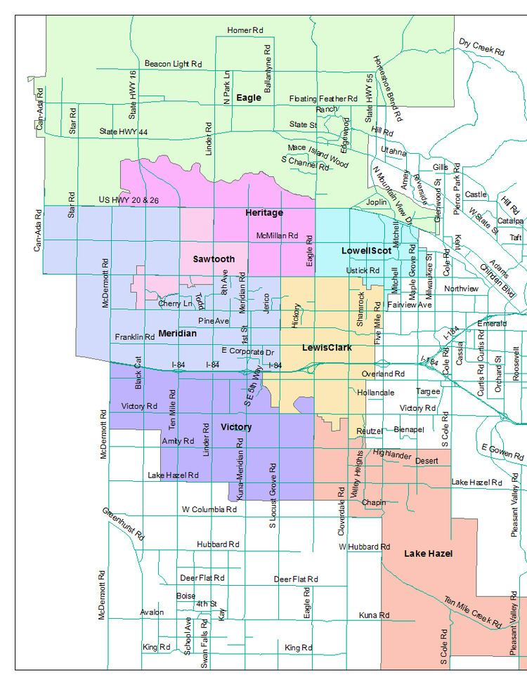 West Ada School District Attendance Attendance Area Map for Middle Schools