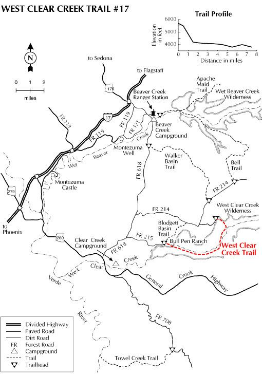 West Clear Creek Wilderness West Clear Creek Trail 17 Hiking Arizona HikeArizonaCOM