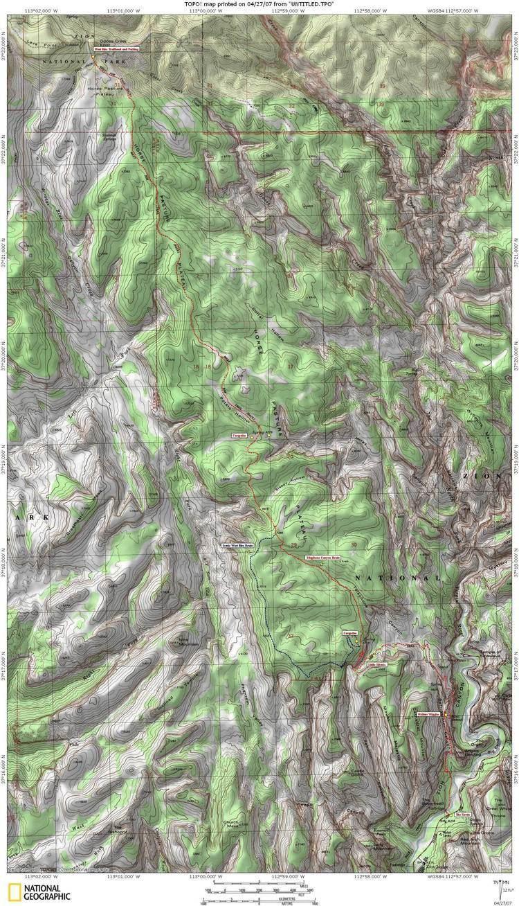 West Rim Trail Zion39s West Rim Trail Map