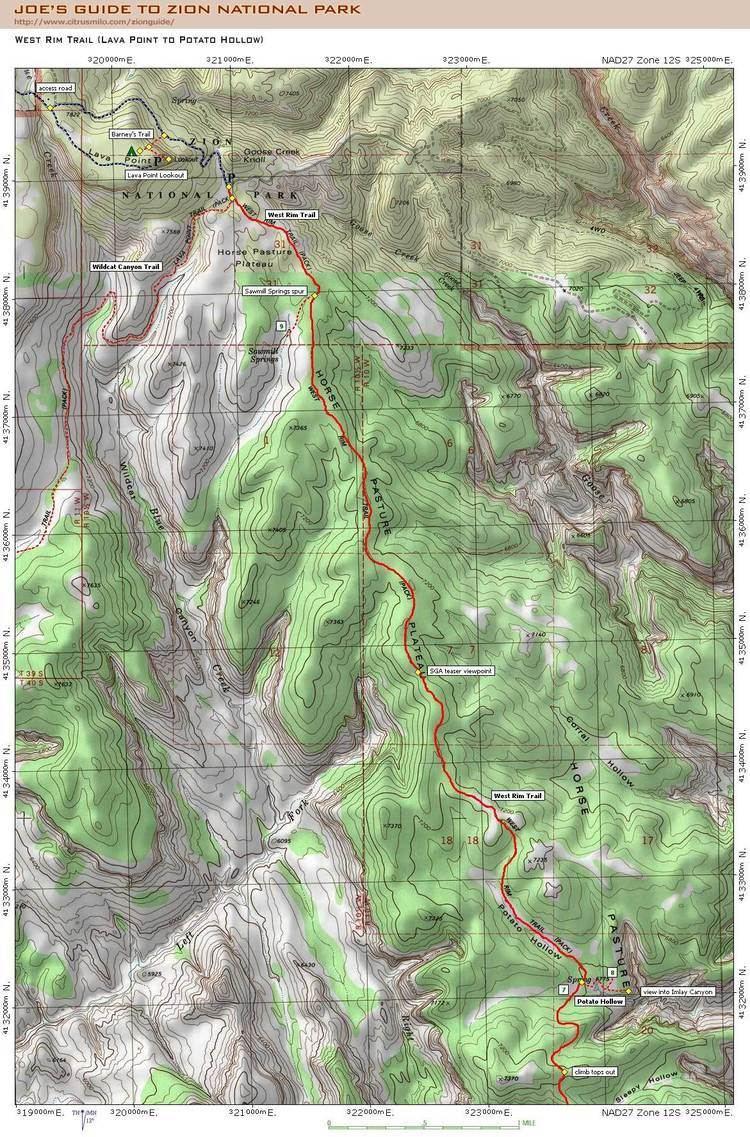 West Rim Trail Joe39s Guide to Zion National Park West Rim Trail Map 1