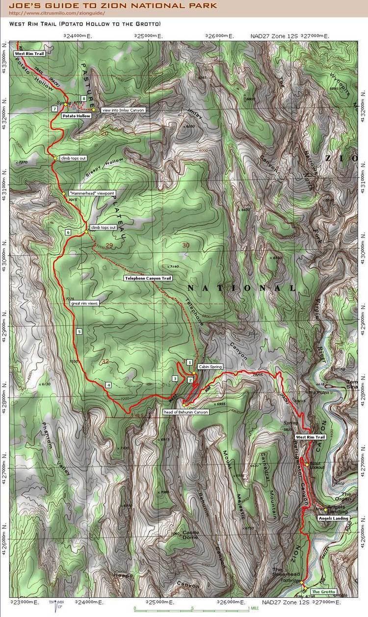 West Rim Trail Joe39s Guide to Zion National Park West Rim Trail Map 2