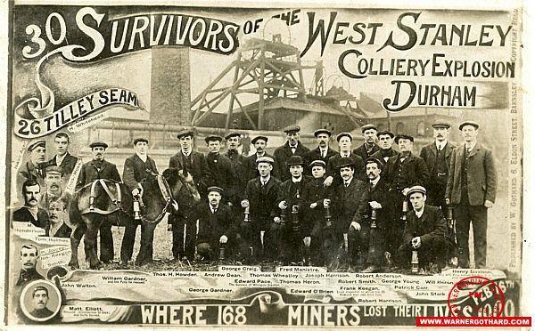 West Stanley Pit disaster Warner Gothard Postcard Index Warner Gothard Postcard Publisher