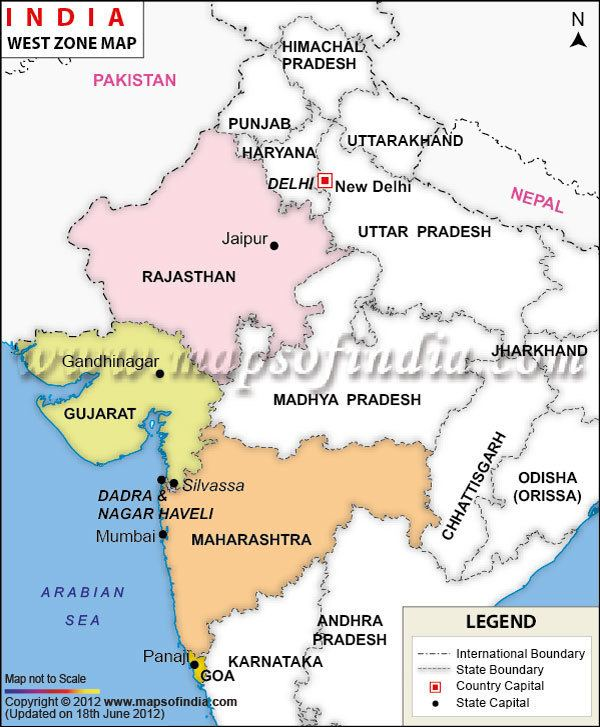 Western India West India Map West Zone Map of India