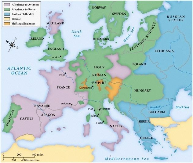 Western Schism A map of Europe during the Great Schism 632 534 MapPorn