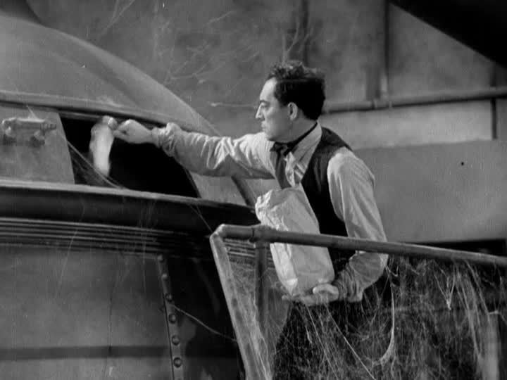 What! No Beer? movie scenes Keaton trying to mix up a 5 gallon batch of beer inside a brewery vat designed for 500 gallons could have happily riffed on similar scenes in The Navigator