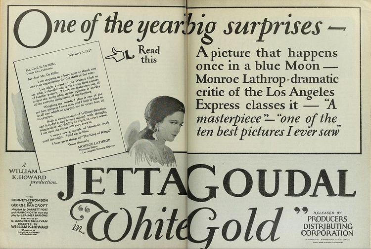 Vintage Film Advert for Jetta Goudal in White Gold 1927 Flickr
