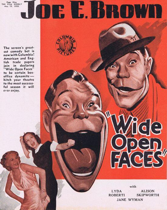 WIDE OPEN FACES 1938 Joe E Brown Movie Trade Ad