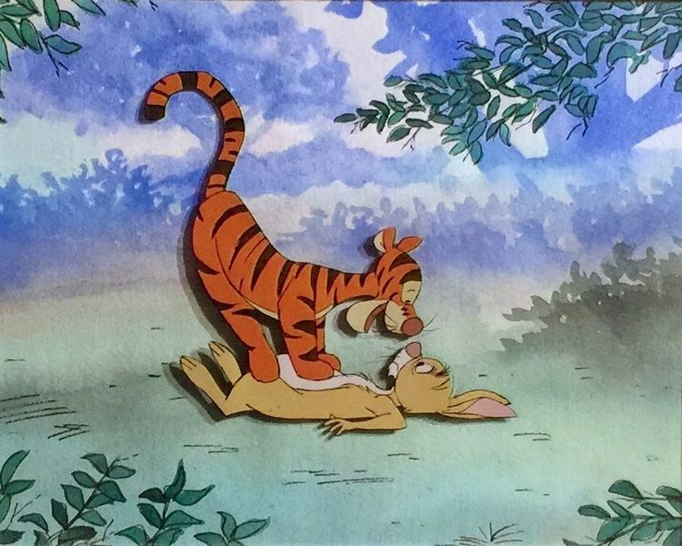Winnie the Pooh and Tigger Too movie scenes Production cel of Tigger and Rabbit from Winnie The Pooh and Tigger Too 1974