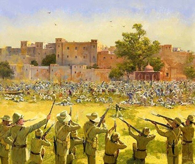 Youre Fired (film) movie scenes Brutal A painting of British soldiers shooting civilians in Amritsar on April 13 1919